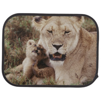 Mother lion sitting with her cub car carpet