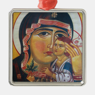 Mother Mary And Jesus Art Metal Ornament