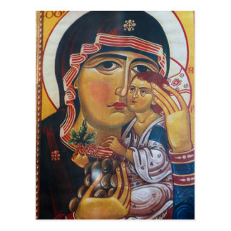 Mother Mary And Jesus Art Postcard