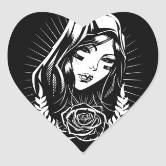 Mother Mary Chicano Art Heart Sticker