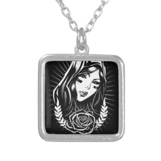 Mother Mary Chicano Art Silver Plated Necklace