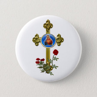 Mother Mary Cross 2 Inch Round Button