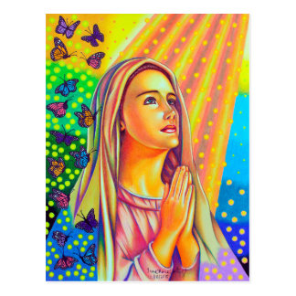 Mother Mary Praying With Light From Above Postcard
