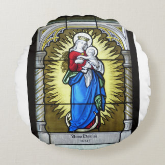 Mother Mary Round Pillow