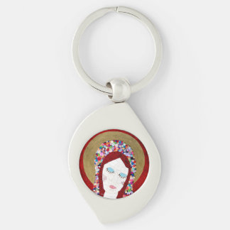 Mother Mary Silver-Colored Swirl Keychain