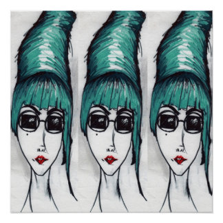 Mother Monster Teal Beehive Sunglasses Pop Art Poster