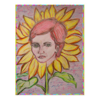 mother nature heals Sunflower Girl Postcard