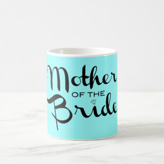 Mother of Bride Retro Script Black On Aqua Basic White Mug