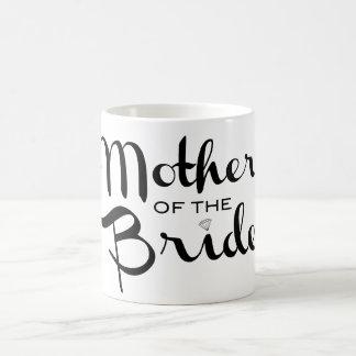 Mother of Bride Retro Script Black on White Basic White Mug