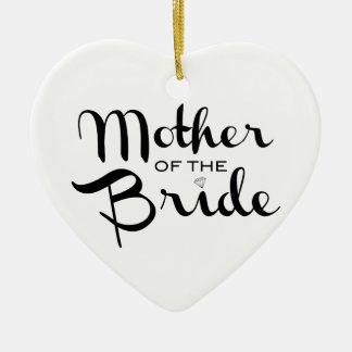 Mother of Bride Retro Script Black on White Ceramic Heart Ornament