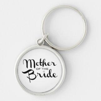 Mother of Bride Retro Script Black on White Keychain
