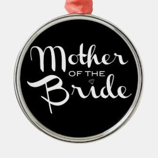 Mother of Bride Retro Script White on Black Silver-Colored Round Ornament