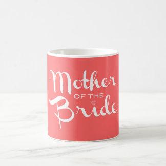 Mother of Bride Retro Script White on Peach Basic White Mug