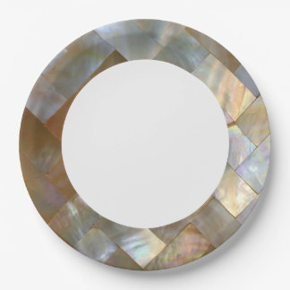 Mother of Pearl Capiz Weave 9 Inch Paper Plate