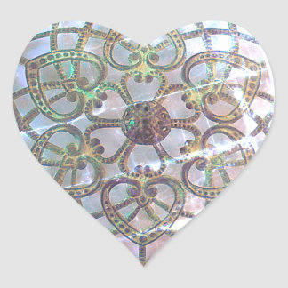 Mother of pearl filigree lacy pattern metal heart sticker