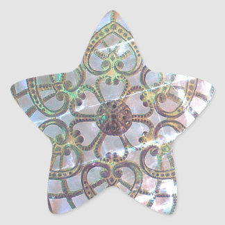 Mother of pearl filigree lacy pattern star sticker