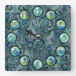 Mother of Pearl (Monogrammed) Square Wall Clock