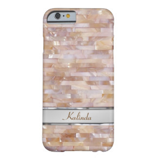 Mother Of Pearl Pink Tiled Metal Name Plate Barely There iPhone 6 Case