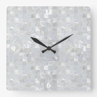 MOTHER OF PEARL PRINT White Wallclocks