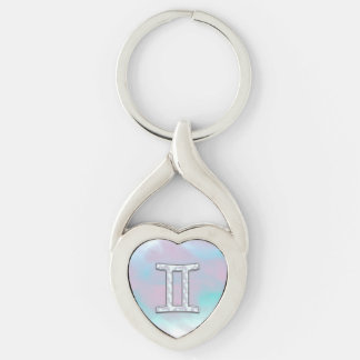 Mother of Pearl Style Gemini Zodiac Symbol Silver-Colored Twisted Heart Keychain