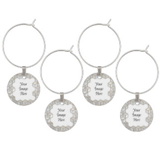 Mother Of Pearl Tiles Frame Wine Glass Charm