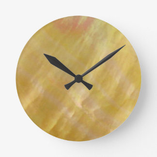 Mother of pearl tones gold round clock