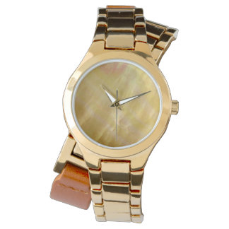 Mother of pearl tones gold watch