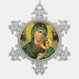 Mother of Perpetual Help Snowflake Pewter Christmas Ornament
