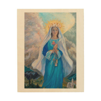 "Mother of Salvation wood panel, 8"" x 10"" Wood Wall Art"