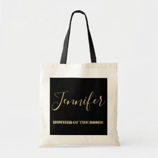 Mother of The Bride Black Gold Glitter Typography Tote Bag