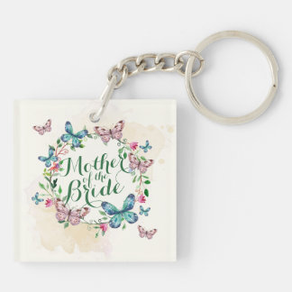 Mother of the Bride Butterfly Wreath Keychain