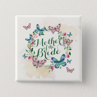Mother of the Bride Butterfly Wreath Pin Button