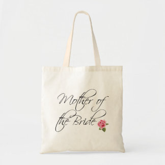 Mother of the Bride Calligraphy and Rose Tote Bag