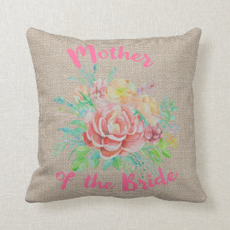 Mother of the Bride Floral Watercolor Burlap Throw Pillow