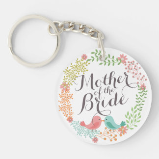 Mother of the Bride Floral Wreath Wedding Keychain