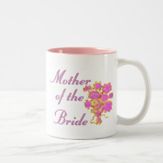 Mother Of The Bride Gold & Bouquet Two-Tone Coffee Mug