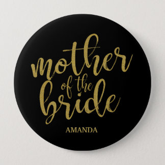 Mother of the Bride Gold Glitter Bridal Shower 4 Inch Round Button