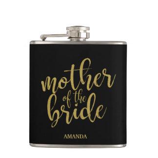 Mother of the Bride Gold Glitter Bridal Shower Flask