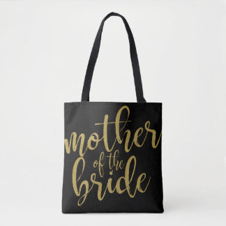Mother of the Bride Gold Glitter Calligraphy Tote Bag