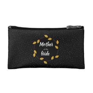 Mother of the bride golden wreath dotty makeup bag