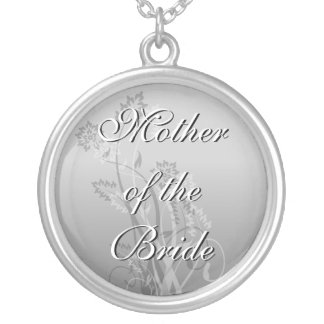 Mother of the Bride Necklace Silver Floral Wedding