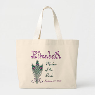 Mother of the Bride Peacock Feather Teal Purple Large Tote Bag