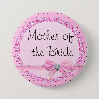 Mother of the Bride Pink and Black Dots Button