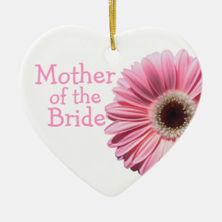 Mother of the Bride Pink Gerbera Daisy Ceramic Heart Ornament