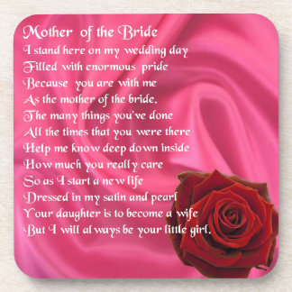 Mother of the Bride poem -  Pink Silk & Rose Coasters