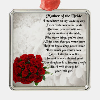 Mother of the Bride Poem - Red Roses Silver-Colored Square Ornament