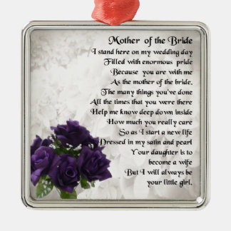 Mother of the Bride  -  Purple Roses Metal Ornament