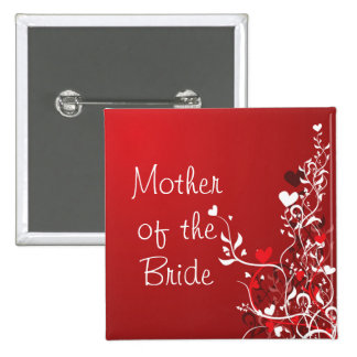 Mother of the Bride ---- Red Scroll 2 Inch Square Button