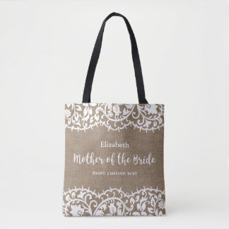 Mother of the Bride Rustic Lace Burlap Custom Tote Bag