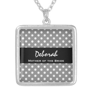 MOTHER OF THE BRIDE Silver Polka Dot Gift Item Silver Plated Necklace